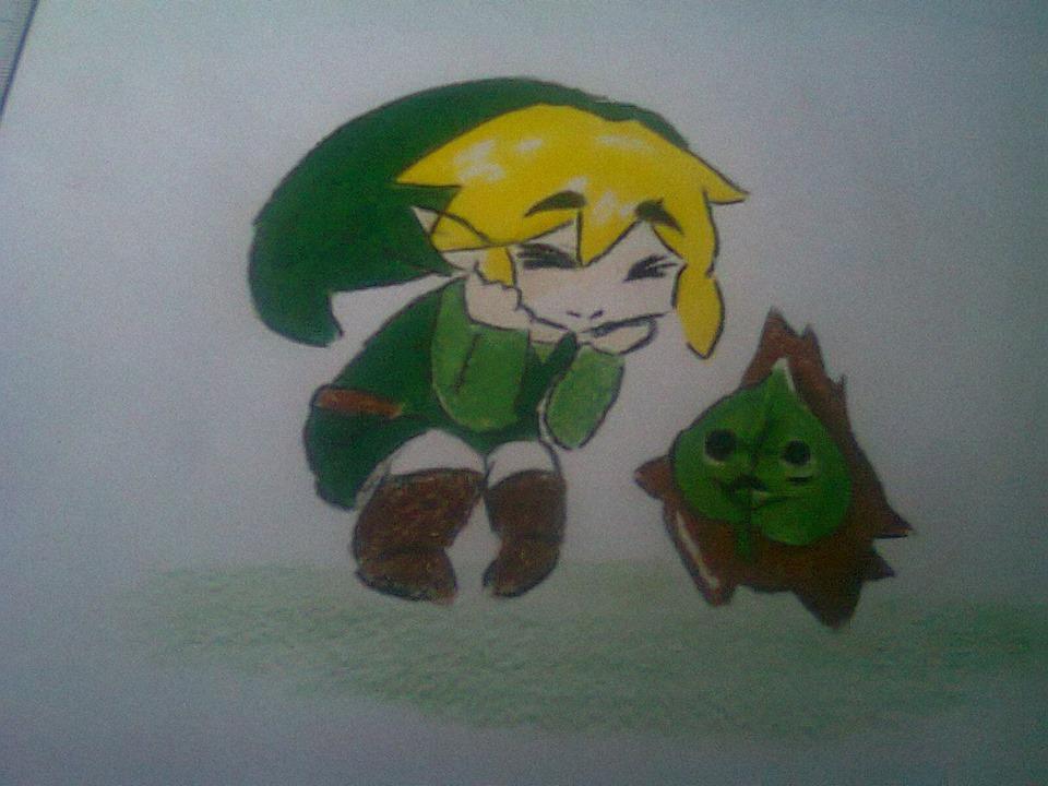 Link admirando un Kolog en The Wind Waker