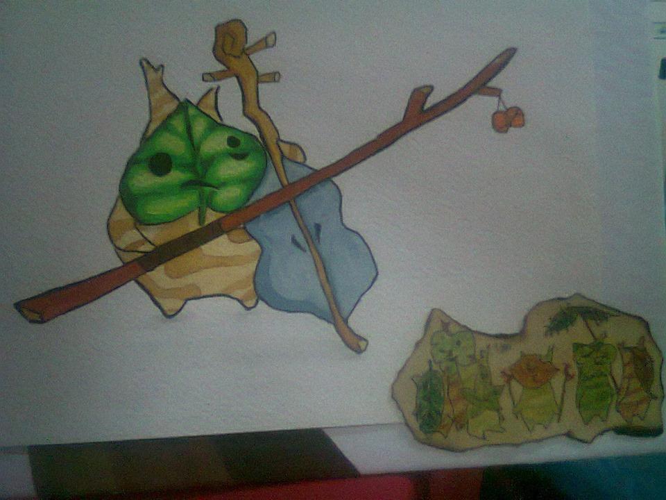 dibujo a colores de un kolog de zelda
