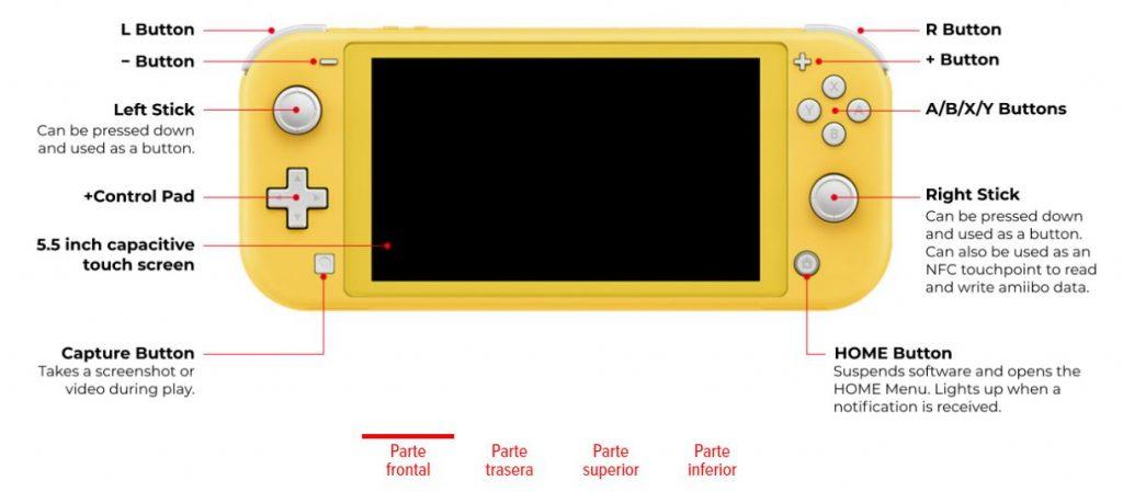 Especificações técnicas Nintendo Switch Lite Front Side