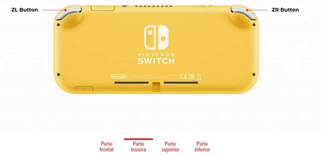 Especificações técnicas Nintendo Switch Lite Rear Part